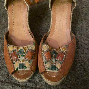 Apepazza Italian Leather Espadrille Wedge Sandals